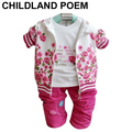 baby clothing set cotton girl flower newborn baby girl clothes coat+t-shirt+pants autumn spring baby  suit