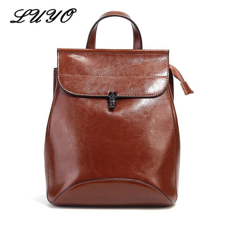Vintage Genuine Leather Wax Oil Woman Travel Feminine Fashion Backpack Female For Girls School Women Bagpack Rugzak Sack
