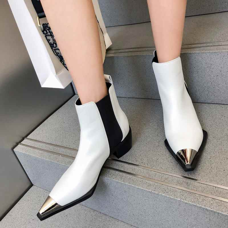 MORAZORA Doğal Hakiki deri çizmeler kadın metal sivri burun bayanlar yarım çizmeler kadınlar için kare topuklu bahar sonbahar ayakkabı