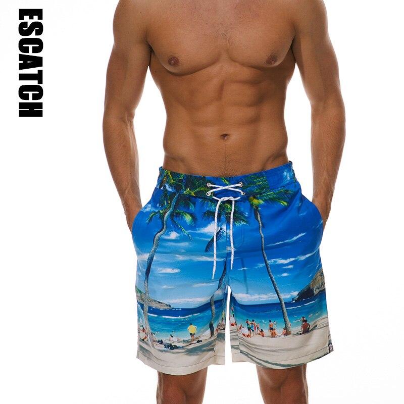 Escatch Brand Men Board Shorts New Design 3D Print Beach Shorts Quick Dry Summer Mens Siwmwear Swim Shorts Surfing