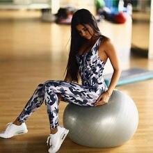 Цельный женский комплект для йоги камуфляжный комбинезон с открытой