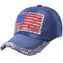 Unisex mujeres bandera americana vaqueros Rhinestone Denim béisbol Bling  ajustable gorra de envío de la gota 67342c90922
