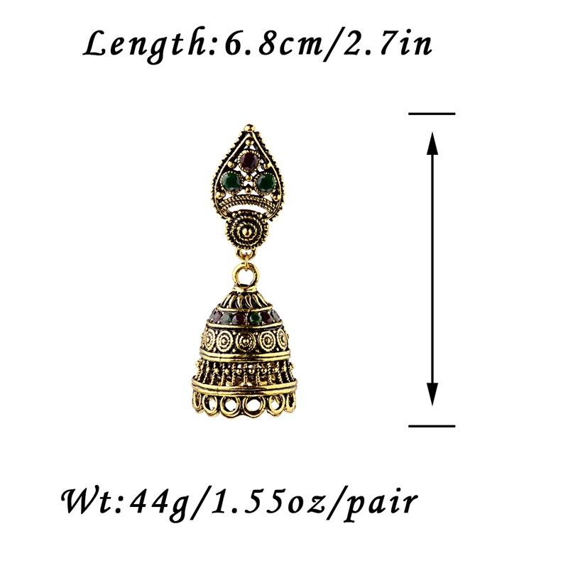 DOUVEI Classical Style Gold Color Bohemian Earrings Women Boho Red&Green Vintage Hollow Ethnic Earrings Turkish Tribal HXE076 6