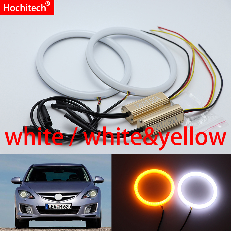 White & yellow Dual and only white color Cotton <font><b>LED</b></font> Angel eyes kit halo ring DRL Turn signal light for <font><b>mazda</b></font> <font><b>6</b></font> 2007-2012 image