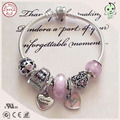 Beautiful Pink Love Heart Charm Series 925 Real Silver Charm Bracelet For Girlfriend