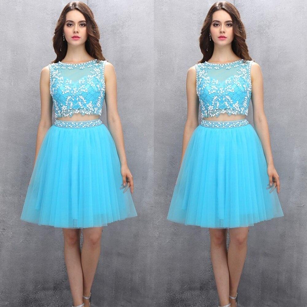 Elegant Short Light Blue Prom Dress Beaded Tulle Two Piece