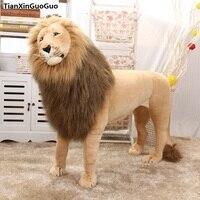 Огромный 110x80 см Искусственный игрушечный плюшевый Лев Фотография реквизит, стоящий игрушечный плюшевый Лев можно ридировать, рождественск