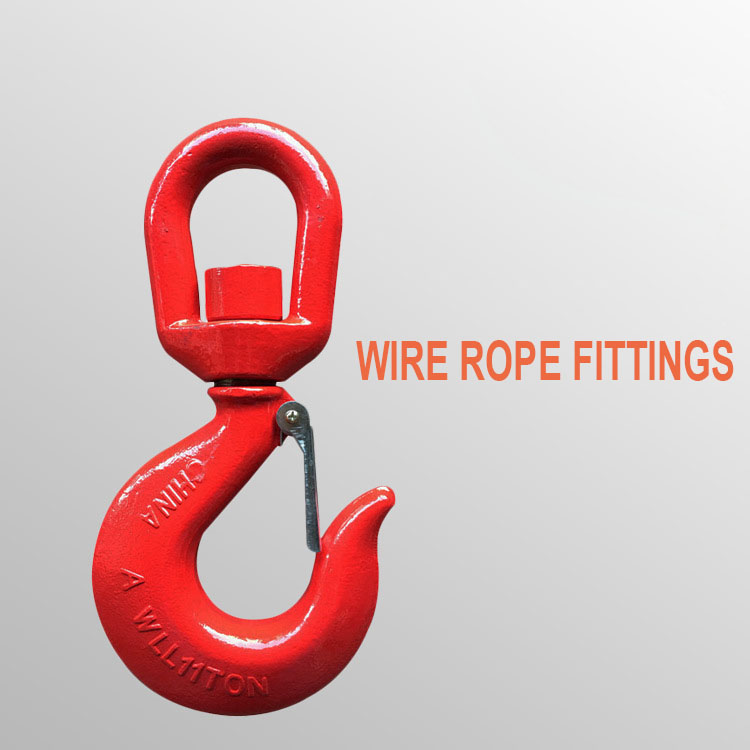 11 Ton Universal Cargo Hook 360 Degree Rotary Hook G80 High-Strength Alloy Steel Hook Wire Rope Fittings11 Ton Universal Cargo Hook 360 Degree Rotary Hook G80 High-Strength Alloy Steel Hook Wire Rope Fittings