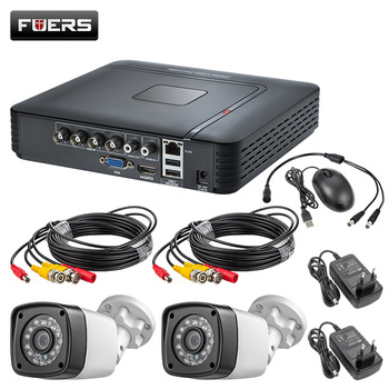 FUERS 4CH CCTV System 2PCS Indoor Outdoor Waterproof Security Camera 4CH 4.0MP DVR Day/Night DIY Kit Video Surveillance System