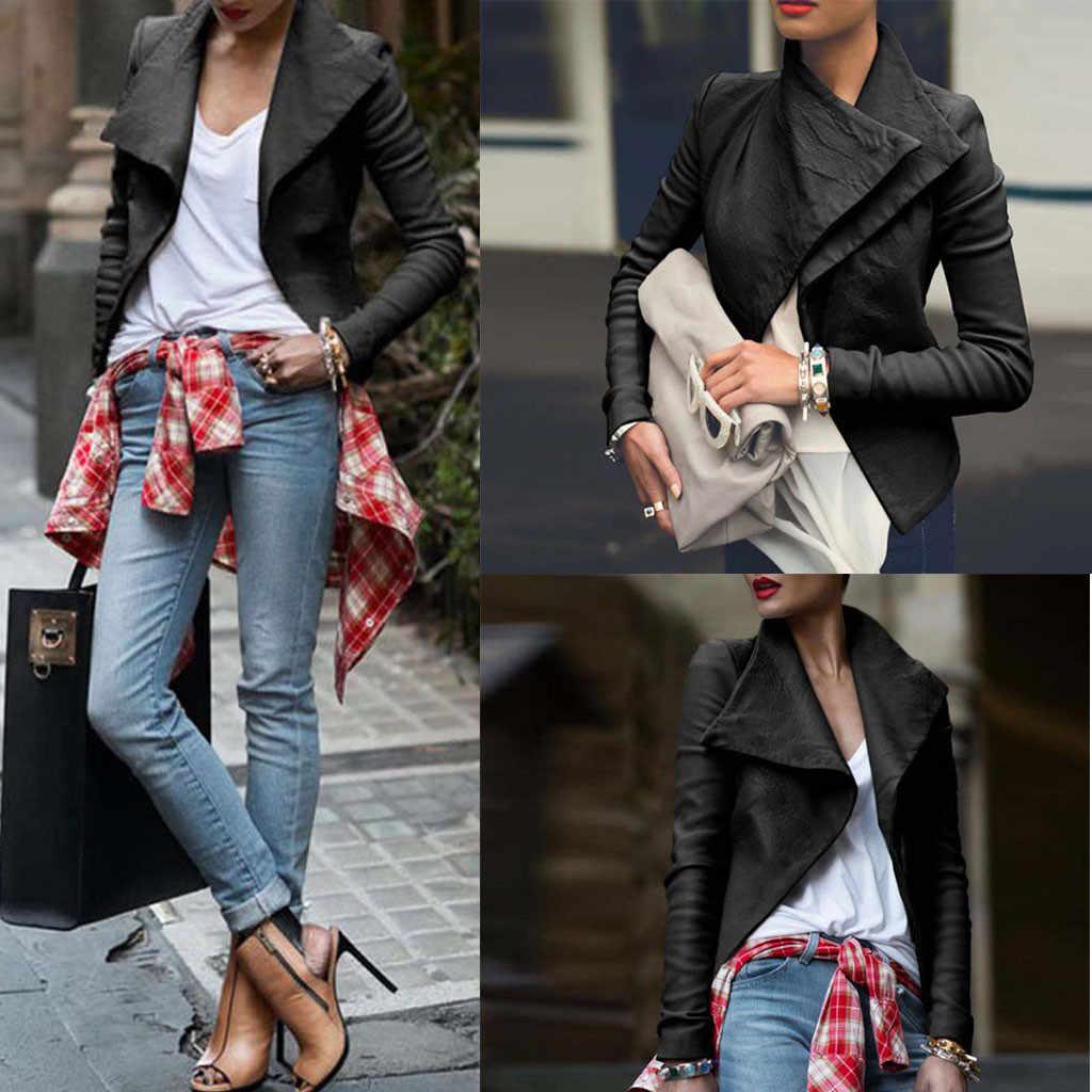 Mode femmes grand revers coupe étroite moto cuir veste Turn-down manteau solide hauts en cuir à manches longues manteau #0712