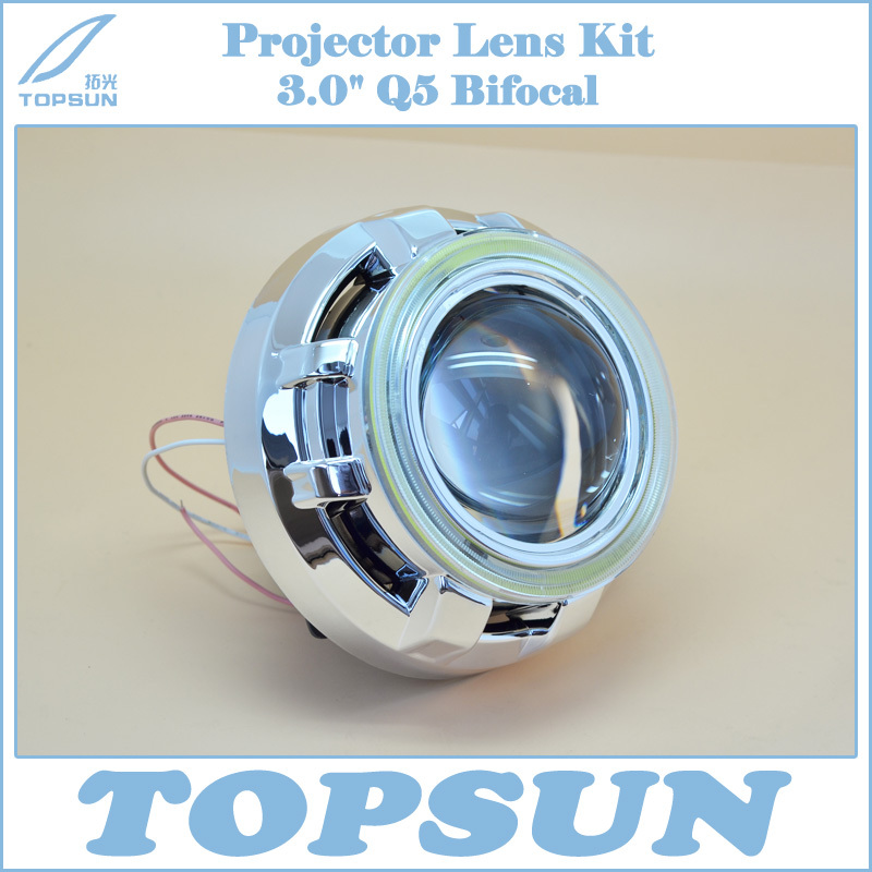 GZTOPHID H4 Projector Lens 3 Inch Q5 Koito Bi-xenon HID with COB Angel Eyes & Shroud, Car Styling Headlight, FREE SHIPPING