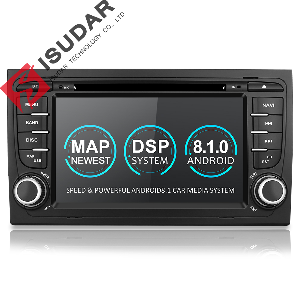 Isudar 2 Din Car Multimedia Player GPS Android 8 1 0 DVD Automotivo For Audi A4
