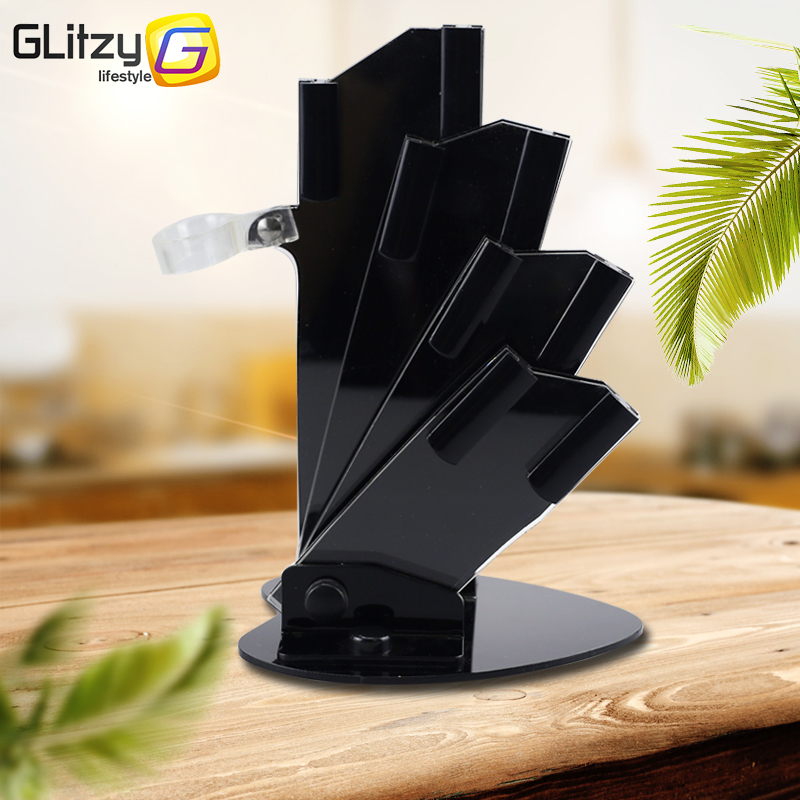 High Quality Black Acrylic Kitchen Ceramic Knife Holder For 3'' 4'' 5'' 6'' Inch Knives With Peeler Cutlery Stand Block Tool