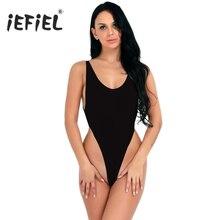 Iefiel Wanita Tinggi Memotong Tanpa Bagian Belakang Ultra Tipis Tembus  Pandang Leotard Bodysuit Wanita Pesta Seksi Pakaian Klub . b50bdcbb9d
