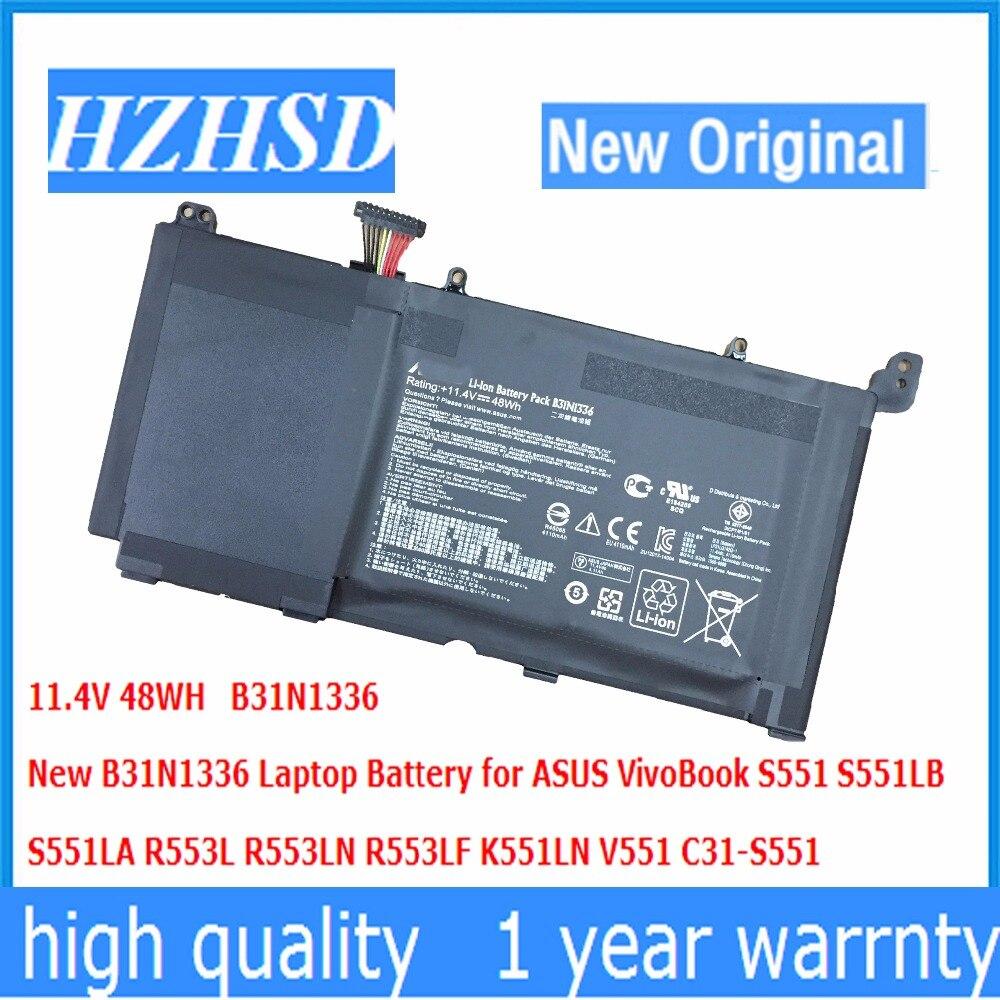 11.4V 48WH New Original B31N1336 Laptop Battery for ASUS VivoBook S551 S551LB S551LA R553L R553LN R553LF K551LN V551 C31-S551 sheli s551lb motherboard for asus asus k551l k551lb k551ld k551ln s551l s551lb s551ld s551ln laptop motherboard i3 4010u new