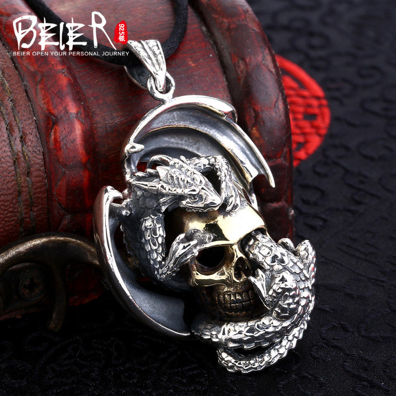 Domineering new style skull pendant Beier 925 silver sterling pendant necklace gold free give rope fashion jewelry A1271
