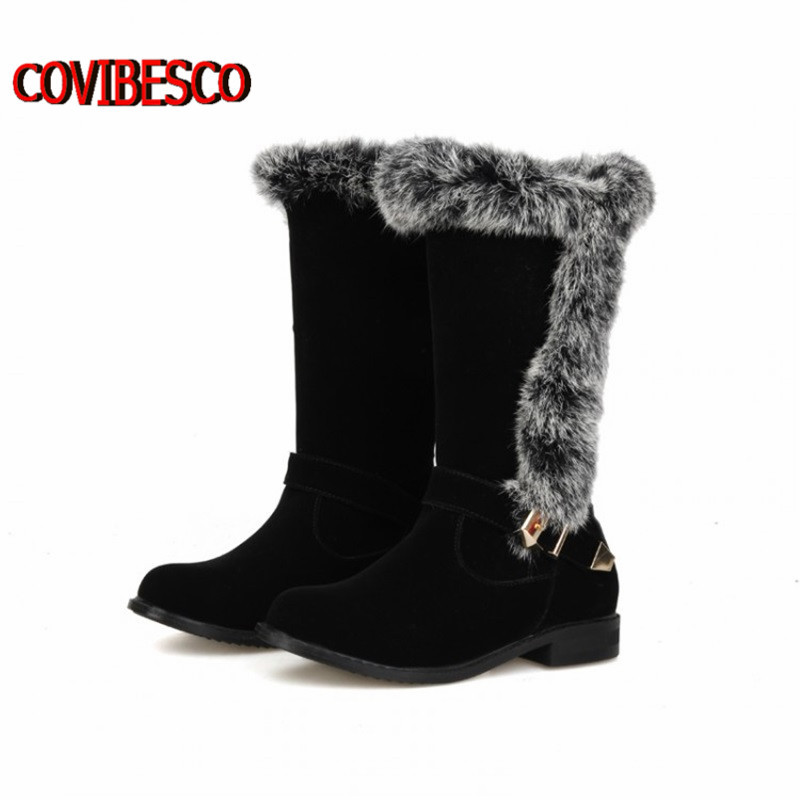 ФОТО New Women warm thick heels Snow Boots rabbit fur decoration knee high boots nubuck PU leather autumn winter woman long boots