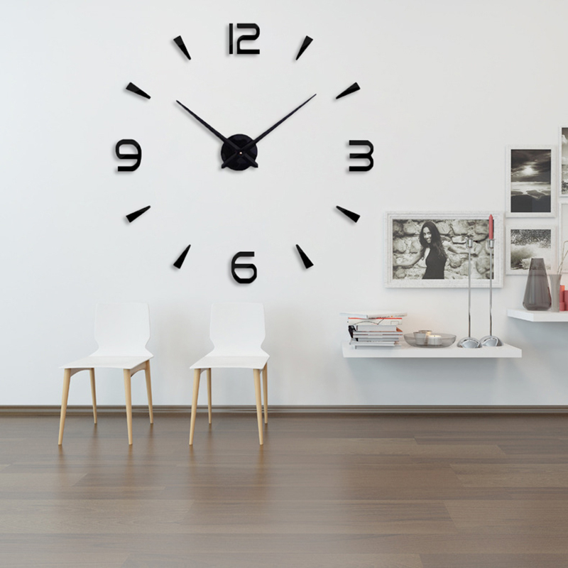 New Large Clocks  Silent Acrylic Mirror Wall Clock Classic Style Home Decor Decoration Living Room Watches Fashion Brief Quartz