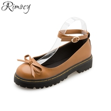 Rimocy cute bowtie summer women flats casual round toe British vintage ankle strap platform shoes lovely girls school footwear