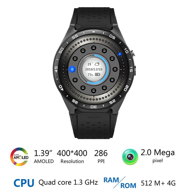 KW88 Smart Watch Phone Android 5.1 Quad Core MTK6580 512MB RAM 4GB ROM Support Heart Rate 3G Wifi GPS Gravity Sensor Pedometer
