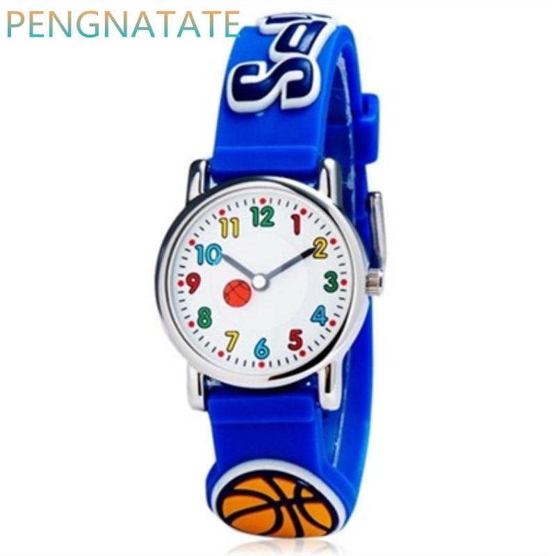WILLIS Leisure Children Quartz Watches Cartoon Watch Bright Color Stylish Analog 3D Basketball Jelly Waterproof Watch PENGNATATE