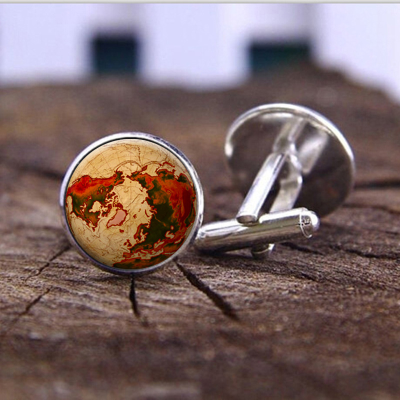 World Map Cufflinks Silver plated Old World Map Cuff links for men and women Yellow Vintage round glass cufflinks