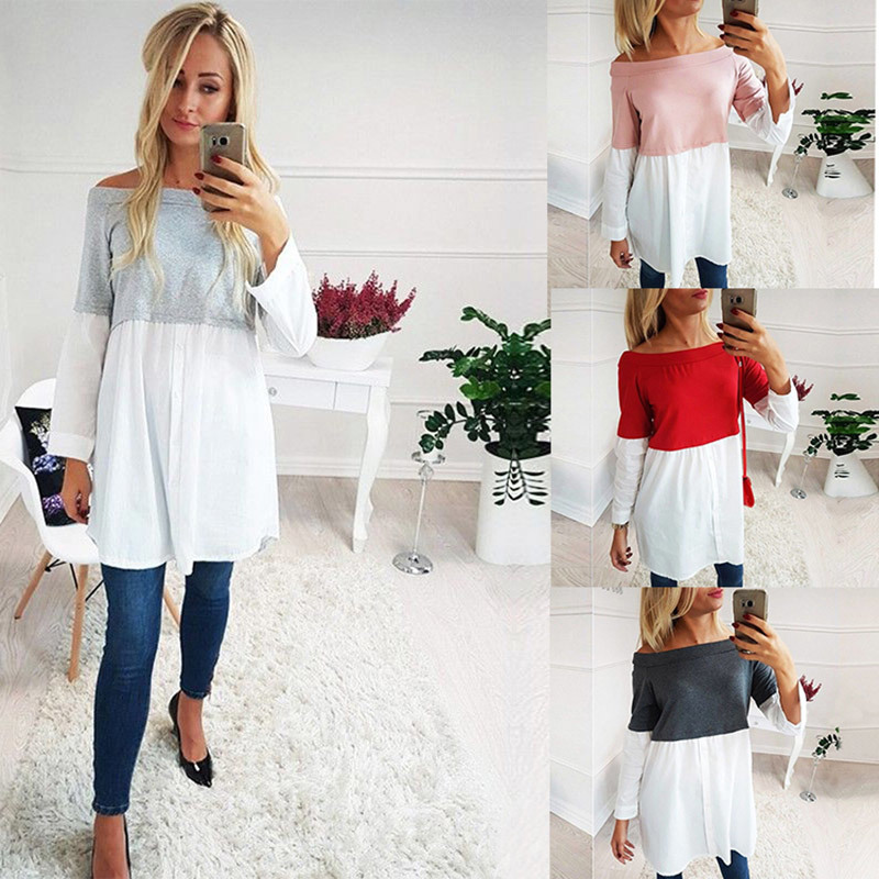 Female Maternity Tees Patchwork Big Size Clothes Tops For Pregnant Women Print Fashion Pregnancy Shirts Maternity Clothing 2019 Lahore