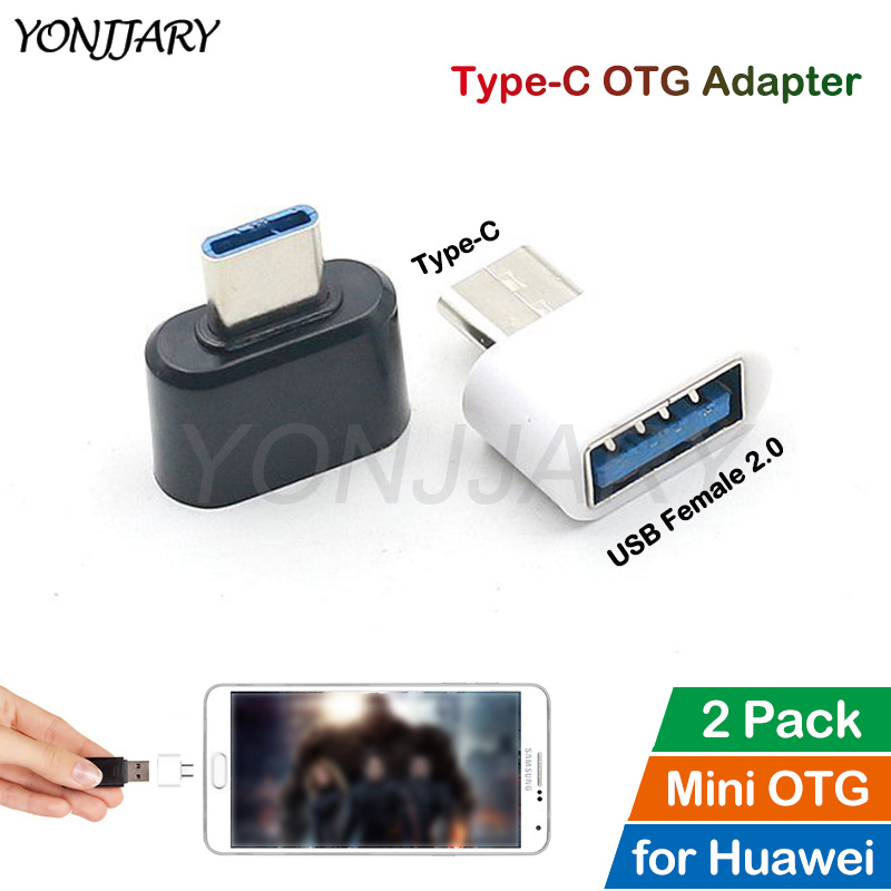 2Pcs Type-C OTG Adapter For Huawei Honor 9 10 V10 Note 10 P9 P20 P30 Mate 10 20 X Pro Lite Nova 2S 3 4 USB-C OTG Data Converter