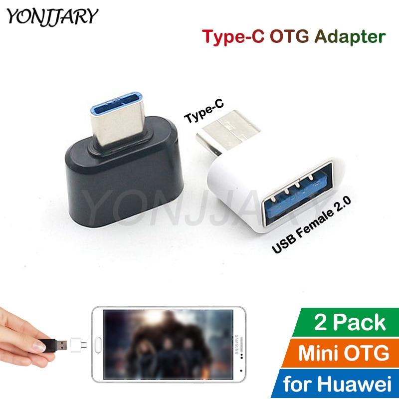 2Pcs USB Type C OTG Adapter For Huawei Honor 9 10 20 9X P20 P30 Pro Mate 10 20 30 Pro Lite Nova 4 5 Tab USB-C OTG Data Converter