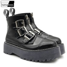 New Womens Gothic Rock Platform Shoes Retro Woman Motorcycle Ankle Boots Multi Buckle Zip Punk Black Free Shipping