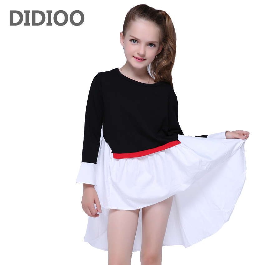 Students Kids Dresses For Girls Dovetail Princess Dress Long Sleeve Cotton Girls Dresses 2 4 6 8 10 12 Years Performance Clothes toddlers girls dots deer pleated cotton dress long sleeve dresses page 10