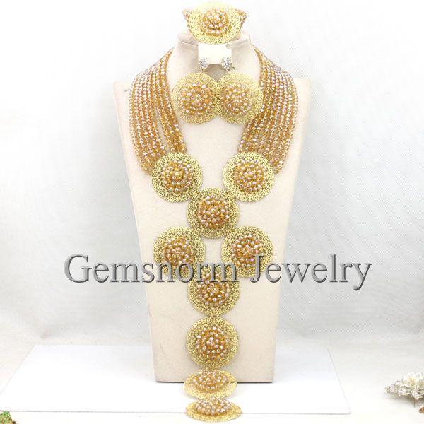 champagne gold wedding beads african jewelry sets dubai bridal costume