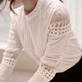 2016 Fashion Elegant White Lace Crochet Hollow Out Blouse Women Cotton Blend Shirt Puff Sleeve Tops Bluse camisa feminina T57349