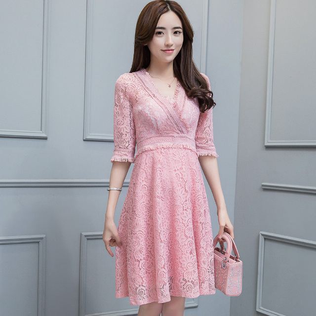 Grijze half lange jurk