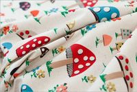 2015 Cartoon Mushroom Pattern Cotton Linen Fabric Vintage Quilting Patchwork Fabric Sewing Hot Sell Retro Style