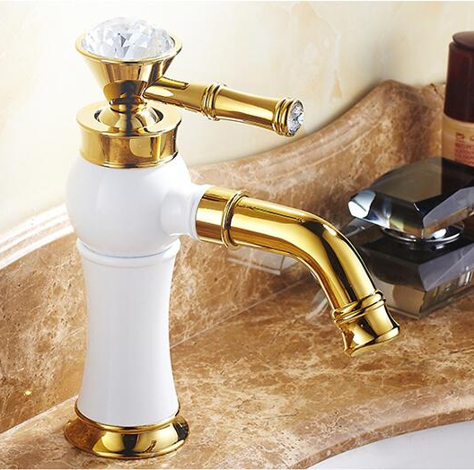 Modern Bathroom White and gold Handle Finish Basin Faucet Tap /Fashion Diamond Design Handle/Hot and Cold Water Mixer Faucet modern bathroom products chrome finish hot and cold water basin faucet mixer single handle water tap 5101
