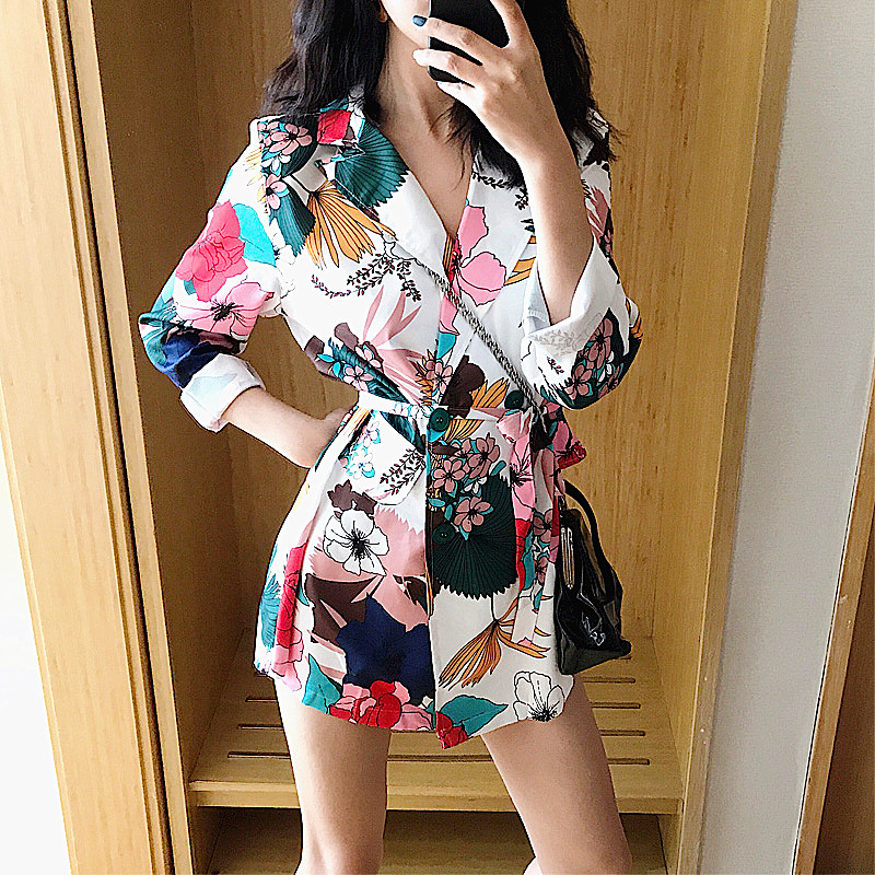 Women Vintage Floral Print Blazers Spring Loose Thin Coat Casual Double-breasted Outerwear Feminine Nice Tops Blazer NS209