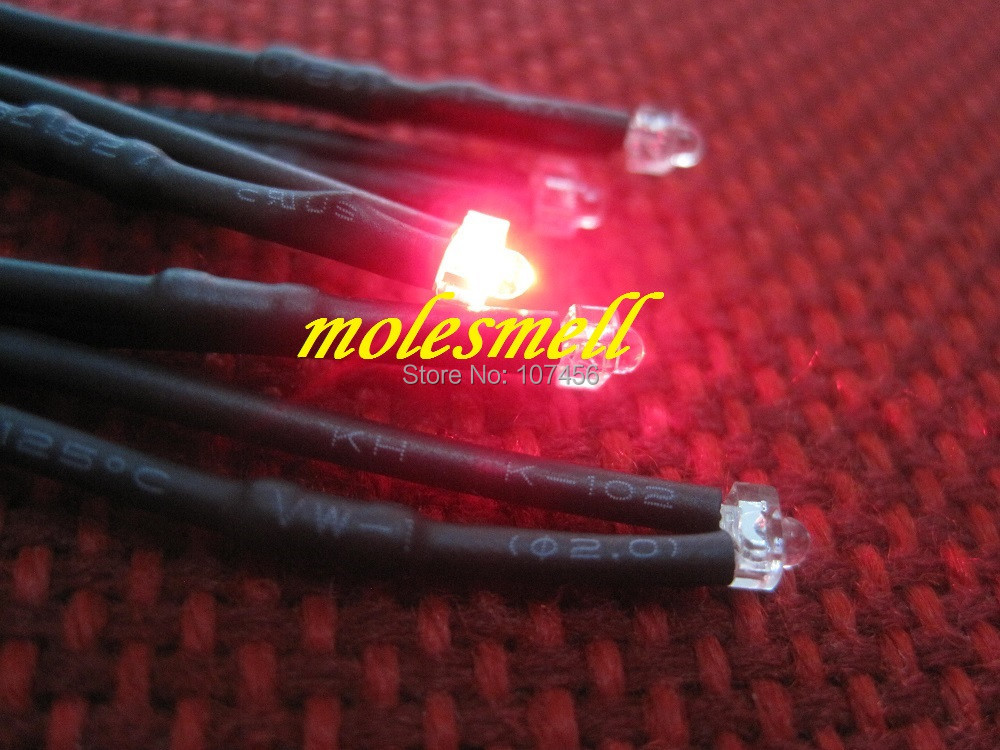 Free Shipping 20pcs 1.8mm Red LED Lamp Light Set Pre-Wired 1.8mm 5V Red 5v DC Wired