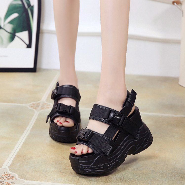 HTB1VUIdbdfvK1RjSspfq6zzXFXa8 Fujin High Heeled Sandals Female Increased Shoes Thick Bottom Summer 2019 New Women Shoes Wedge with Open Toe Platform Shoes