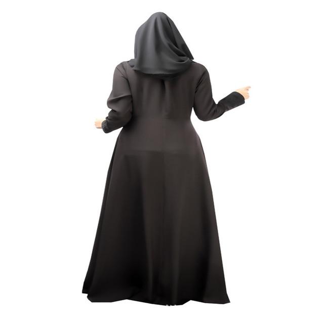 Vintage Long Sleeve Kaftan Abaya Jilbab Muslim Cocktail Women Maxi Dress M L