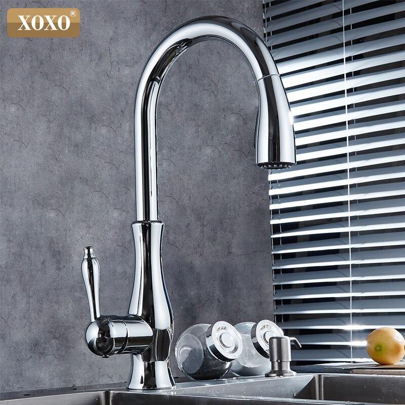 XOXO luxus küche wasserhahn kopf qualität kupfer pinsel nickel exporte zerstäubung pull out kitchen sink armaturen mischbatterie 83034 - 3