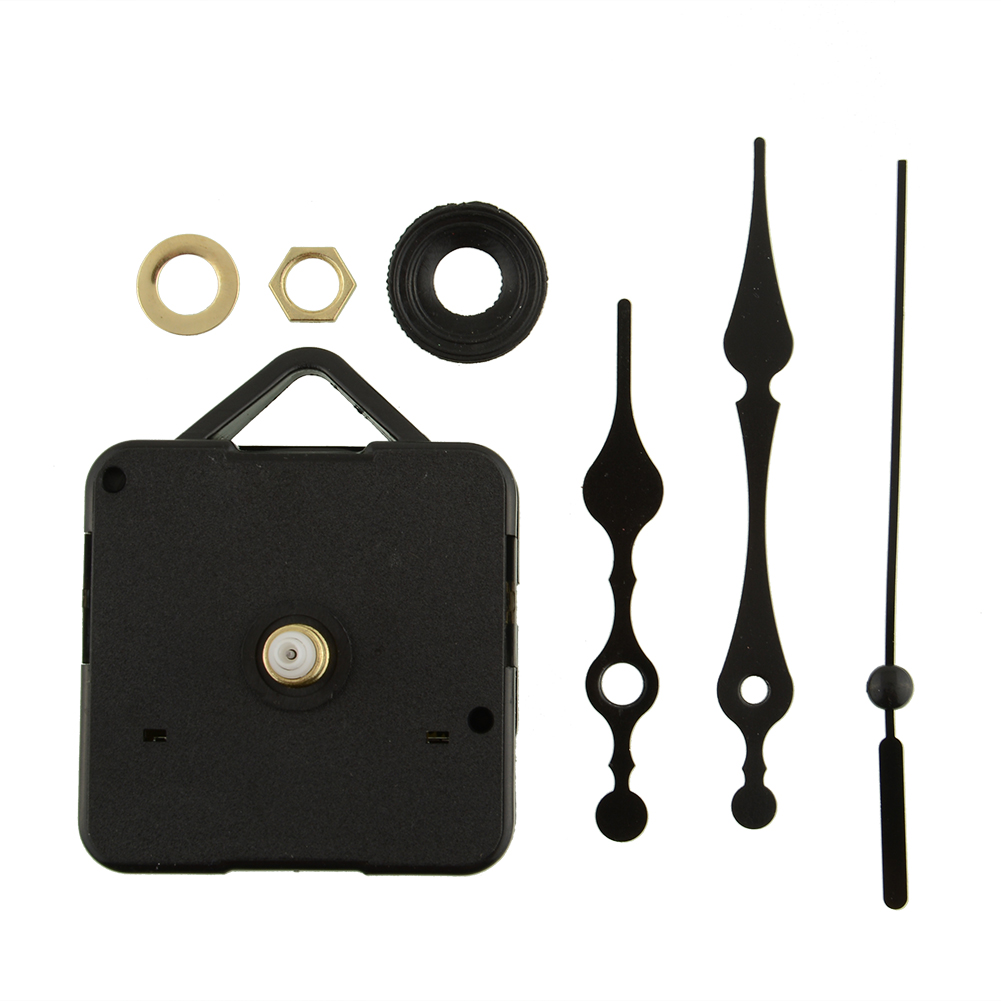 Simple Design All Black Hands Quartz Clock Movement Short None Ticking Repair Tools Set Wall Clock Parts Accessories