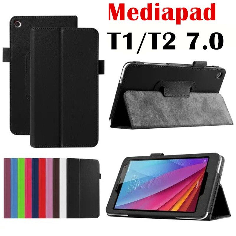 Pour Huawei MediaPad T2 7.0 BGO-DL09 BGO-L03 tablet cas Litchi Stand PU Étui En Cuir Flip Couverture T1 plus 7.0 T1-701U t1-701UA