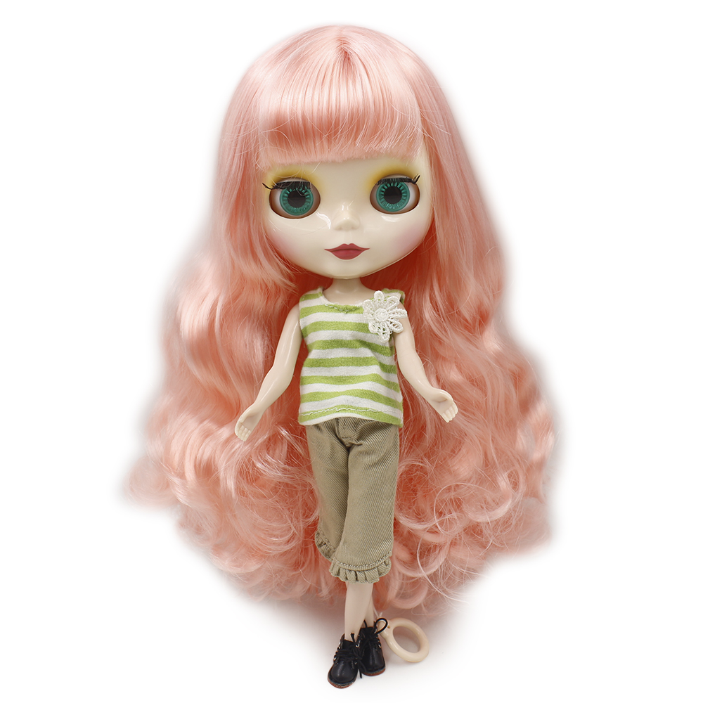 Blyth 1/6 Nude Doll white straight soft Hair With Bangs