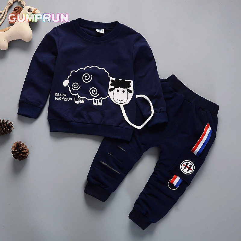 Kids Winter Clothes Cute Sheep Print T-shirt Set Comfortable Warm Boys Children Clothing Girl Winter Clothes For Kids 3 years kids winter clothes floral print long sleeve t shirt set comfortable warm boys children clothing girl winter clothes for kids