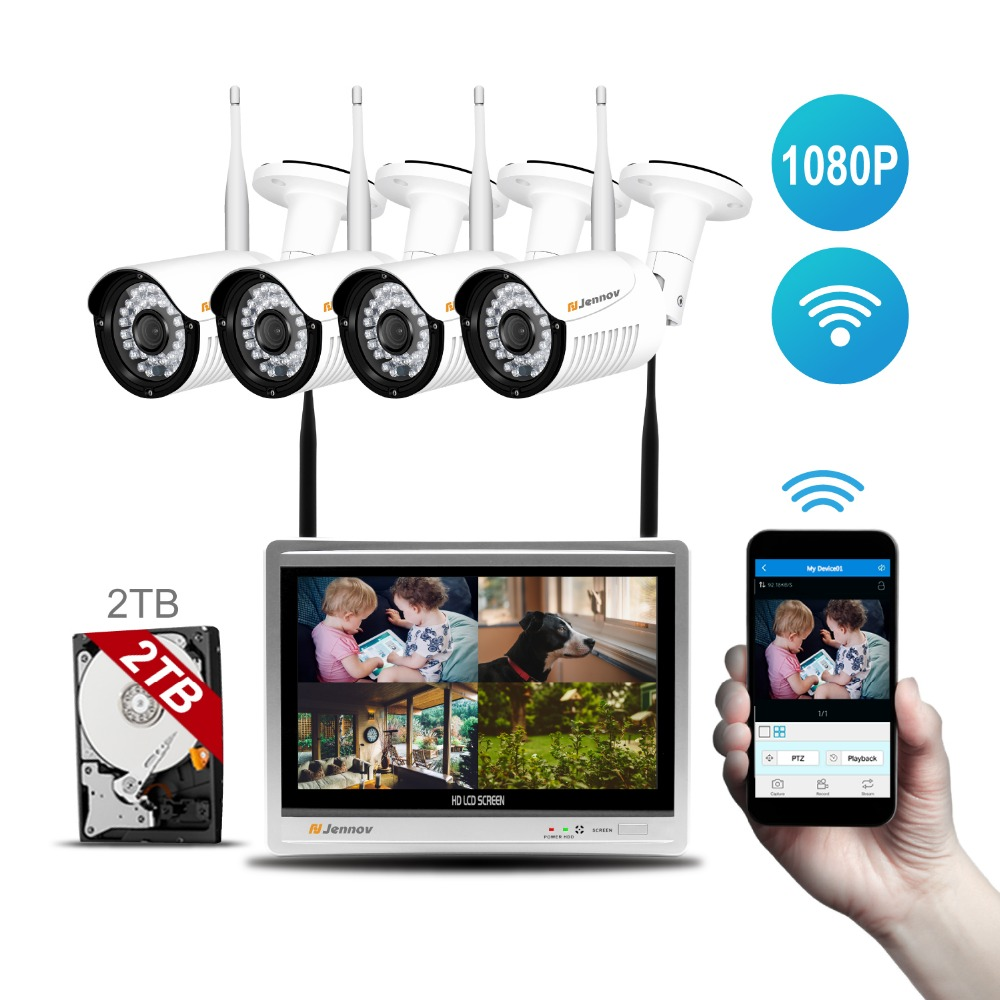 Wireless 4CH CCTV NVR KIT 4pcs IP Camera WiFi 1080P 2MP Home Outdoor Security Camera System Waterproof HDMI Video 12inch Monitor