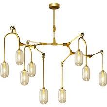 Modern Hanging Lamp Interior Decorative LED Chandelier Lighting Golden Iron Restaurant Living Room Fixtures Luminaire