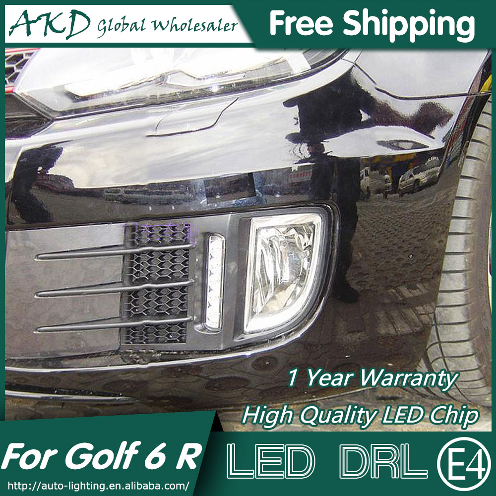 AKD Car Styling LED Fog Lamp for VW Golf 6 R DRL 2009-2012 Golf6 LED Daytime Running Light Fog Light Signal Parking Accessories недорого
