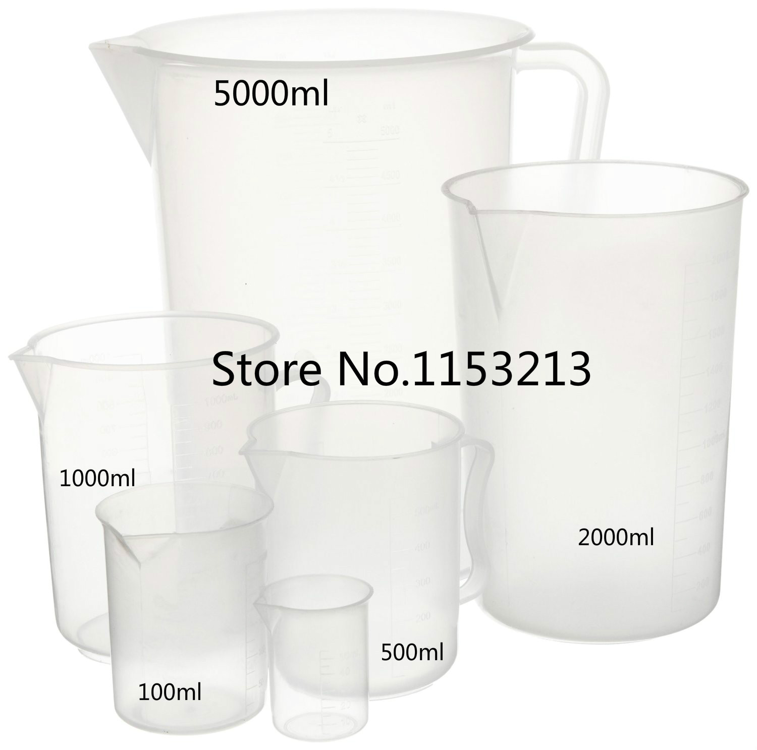 5 pcs/lot 100ml/500ml/1000ml/2000ml/5000ml Capacity Clear Plastic Graduated Laboratory Measuring cup PP cylinder kitchen baking