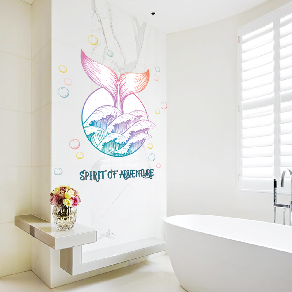 Whale Wall Stickers For bathroom Home Decor DIY Removable Wall Decal showerroom restaurant decoration QTM343 4 in Wall Stickers from Home Garden
